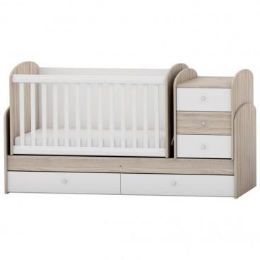 Arbor Κρεβάτι Κούνια Μετατρεπόμενο Walnut Deco White BJWW118