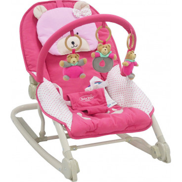 Bebe Stars Ρηλάξ Αλουμινίου Με Μπάρα Παιχνιδιών Deluxe Pink 313-200