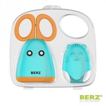 Berz Ψαλιδάκι Kοπής Βρεφικών Τροφών Mε Γάντι Σιλικόνης Τιρκουάζ Πορτοκαλί BZ8702