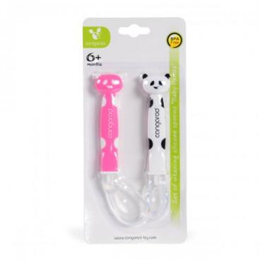 Cangaroo Κουταλάκια Σιλικόνης Mommy Panda Pink  2 τεμ. 3800146261863