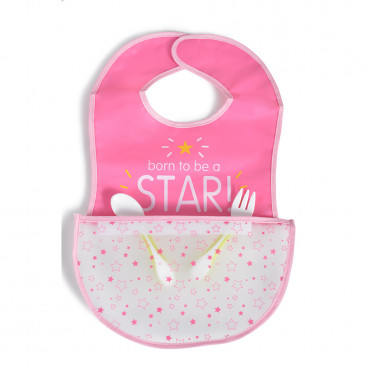 Cangaroo Πλαστική Σαλιάρα Με Τσέπη Glam Pink 3800146266134