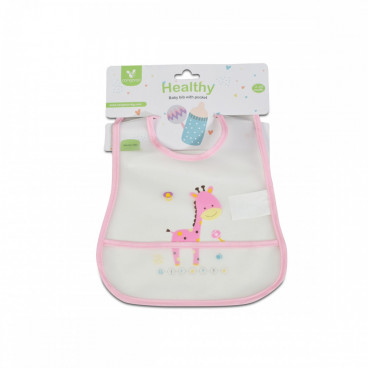 Cangaroo Πλαστική Σαλιάρα Με Τσέπη Healthy Pink 3800146266158
