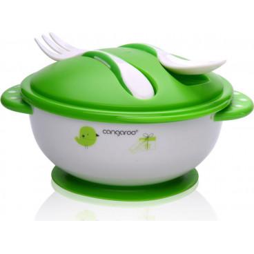 Cangaroo Μπωλ Φαγητού Με Κουτάλι Και Πηρούνι F1301 Green 3800146259921