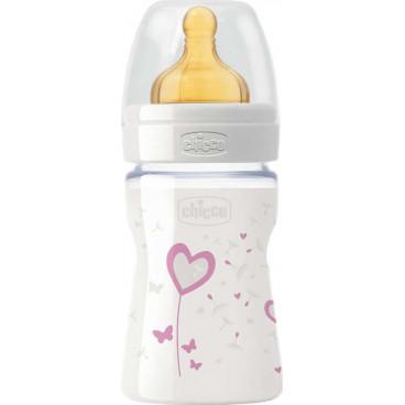 Chicco Μπιμπερό Γυάλινο Nature Glass 150ml Θηλή Καουτσούκ 1 Τρύπα Pink 20710-10