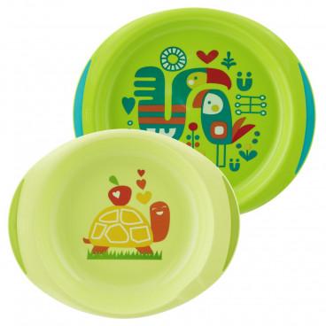 Chicco Σετ Πιάτο Και Μπωλ 12m+ Green 16002-10/16002-20
