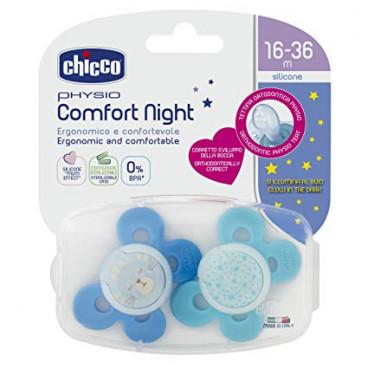 Chicco Πιπίλα Με Θήκη Physio Comfort Night Με θηλή Σιλικόνης 16-36m+ (2 Τμχ.) Lumi Blue 74935-42
