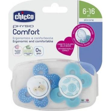Chicco Πιπίλα Με Θήκη Physio Comfort Με θηλή Σιλικόνης 6-16m+ (2 Τμχ.) Blue 74933-21