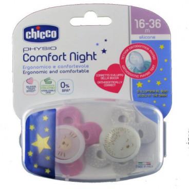 Chicco Πιπίλα Με Θήκη Physio Comfort Night Με θηλή Σιλικόνης 16-36m+ (2 Τμχ.) Lumi Pink 74935-41