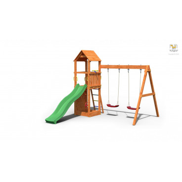 Fungoo Ξύλινη Παιδική Χαρά Flappi Με Τσουλήθρα Και 2 Κούνιες 03435