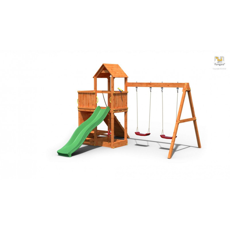 Fungoo Ξύλινη Παιδική Χαρά Floppi Με Τσουλήθρα Και 2 Κούνιες 03180