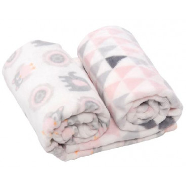 Kikkaboo Κουβέρτα Gift Set Coral Fleece 70/80 cm Sherpa Pink Owls 31103020037
