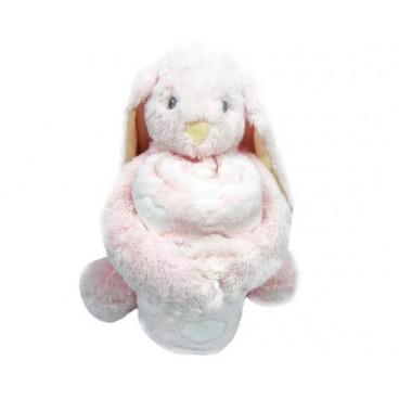 Kikkaboo Κουβέρτα Αγκαλιάς 76/114 cm Με Παιχνίδι Bunny Pink 31103020040