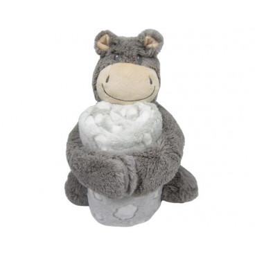 Kikkaboo Κουβέρτα Αγκαλιάς 70/100 cm Με Παιχνίδι Hippo Grey 31103020043