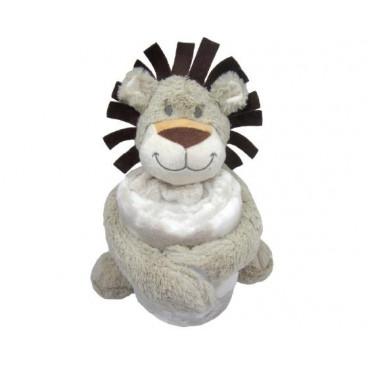Kikkaboo Κουβέρτα Αγκαλιάς 70/100 cm Με Παιχνίδι Leo Beige 31103020042