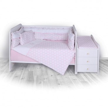 Lorelli Σετ Προίκας Μωρού Για Κούνια Trend Circles Pink 20050720029