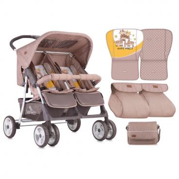 Lorelli Καρότσι Διδύμων Twin Beige Yellow Family 10020071803