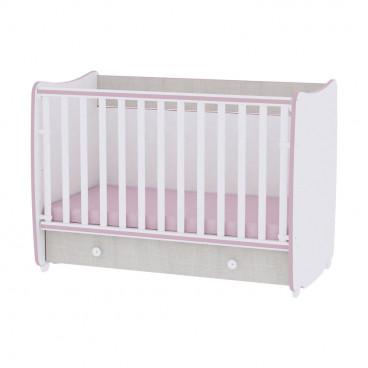 Lorelli Κρεβάτι Dream 60 x 120 Μετατρεπόμενο White Pink Crossline 10150420032A