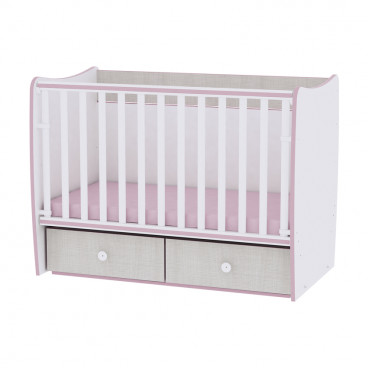 Lorelli Κρεβάτι Matrix Μετατρεπόμενο White Pink Crossline 10150490032A