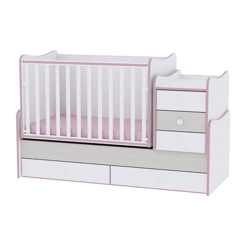 Lorelli Κρεβάτι Maxi Plus Μετατρεπόμενο White Pink Crossline 10150300032A