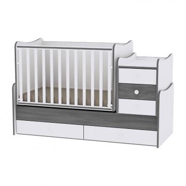 Lorelli Κρεβάτι Maxi Plus Μετατρεπόμενο White Vintage Grey 10150300034A