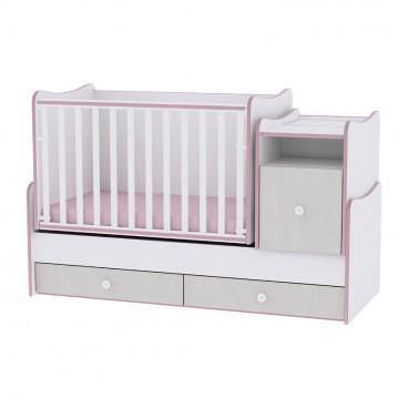 Lorelli Κρεβάτι Trend Plus Μετατρεπόμενο White Pink Crossline 10150400032A