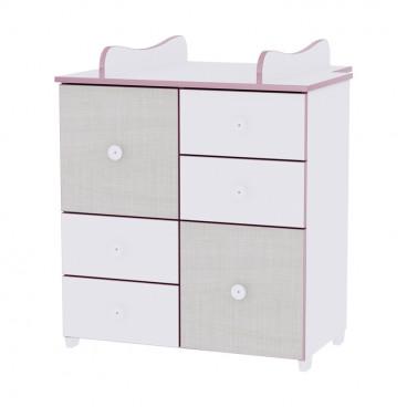 Lorelli Συρταριέρα Αλλαξιέρα Cupboard White Pink Crossline 10170110032A