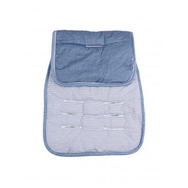 Minene Βαμβακερό Kάλυμμα  Καροτσιού Διπλής Όψης  Άσπρο Μπλε MN3052