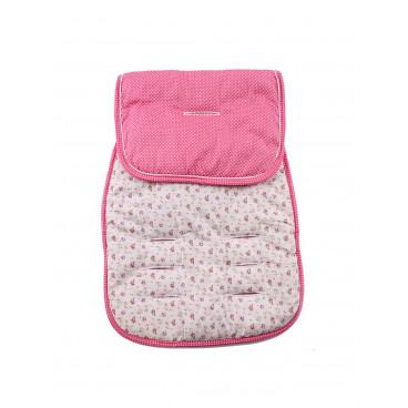 Minene Βαμβακερό Kάλυμμα  Καροτσιού Διπλής Όψης  Ροζ Λουλούδια MN3055