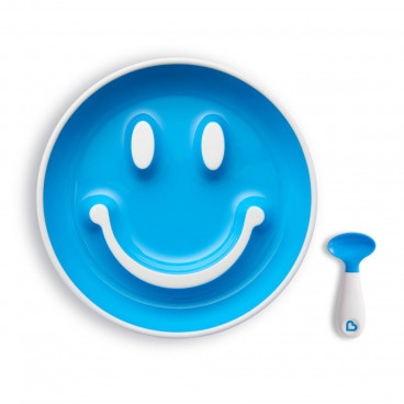 Munchkin Σετ Πιατάκι Φαγητού Και Κουταλάκι Smile And Scoop Blue 12449