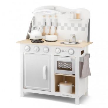 New Classic Toys Ξύλινη Κουζίνα Bon Appetit Deluxe White Silver 11061