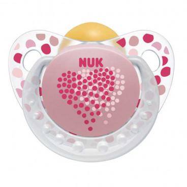 Nuk Πιπίλα Με Θηλή Καουτσούκ 0-6m+ Trendline Adore Pink 10725038