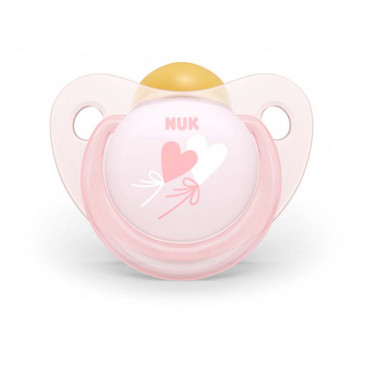 Nuk Πιπίλα Με Θηλή Καουτσούκ 0-6m+ Trendline Baby Rose Hearts 10725199
