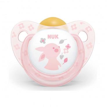 Nuk Πιπίλα Με Θηλή Καουτσούκ 0-6m+ Trendline Baby Rose Rabbit 10725199