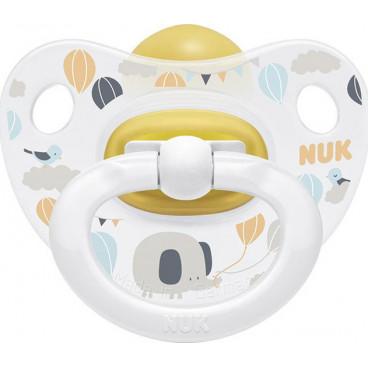 Nuk Πιπίλα Με Θηλή Καουτσούκ 0-6m Happy Kids White Elephant 10726022