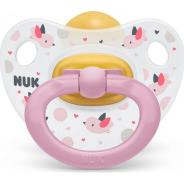 Nuk Πιπίλα Με Θηλή Καουτσούκ 18-36m Happy Kids Pink 10737846