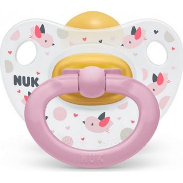 Nuk Πιπίλα Με Θηλή Καουτσούκ 6-18m Happy Kids Pink 10734025