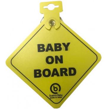 Quattro Baby Σήμανση Αυτοκινήτου Baby On Board Yellow 748613