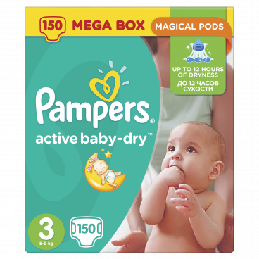 Πάνες Pampers Active Baby Dry No 3, 5-9kg, Mega Pack, 150 Τεμάχια
