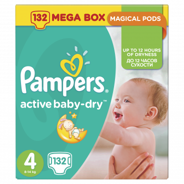 Πάνες Pampers Active Baby Dry No 4, 8-14kg, Mega Pack 132 Τεμάχια