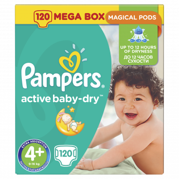 Πάνες Pampers Active Baby Dry No 4+, 9-16kg, Mega Pack, 120 Τεμάχια