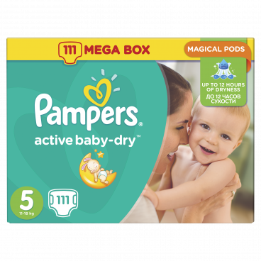 Πάνες Pampers Active Baby Dry No 5, 11-18kg, Mega Pack, 111 Τεμάχια