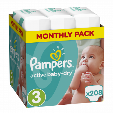 Πάνες Pampers Active Baby Dry No 3, 5-9kg, Monthly Pack, 208 Τεμάχια