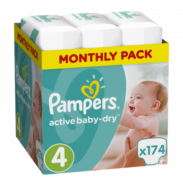 Πάνες Pampers Active Baby Dry No 4, 8-14kg, Monthly Pack, 174 Τεμάχια