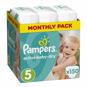 Πάνες Pampers Active Baby Dry No 5, 11-18kg, Monthly Pack, 150 Τεμάχια