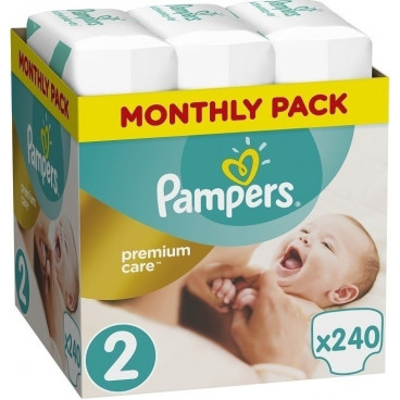 Πάνες Pampers New Baby Premium Care No.2, Mini 3-6kg, Monthly Pack, 240 Τεμάχια