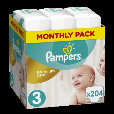Πάνες Pampers Premium Care No.3, 5-9kg, Monthly Pack, 204 Τεμάχια