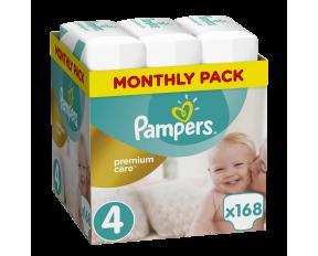 Πάνες Pampers Premium Care No.4, 8-14kg, Monthly Pack, 168 Τεμάχια