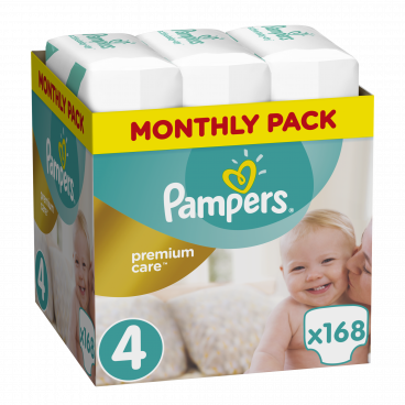 Πάνες Pampers Premium Care No.4, 8-14kg, Monthly Pack, 168 Τεμάχια