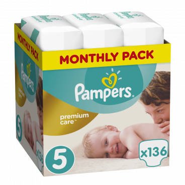 Πάνες Pampers Premium Care No.5, 11-18kg, Monthly Pack, 136 Τεμάχια