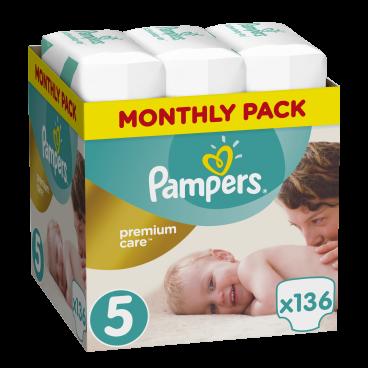 Πάνες Pampers Premium Care No.5, 11-18kg, Monthly Pack, 136 Τεμάχια